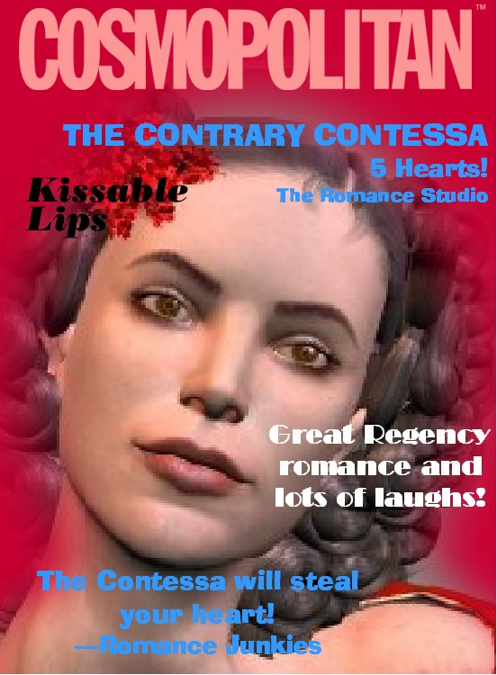 Thanks to Cosmopolitan Virtual Makeover software for providing THE CONTRARY CONTESSA's magazine cover!
